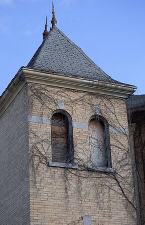 dilapidated: Dilapidated old church steeple