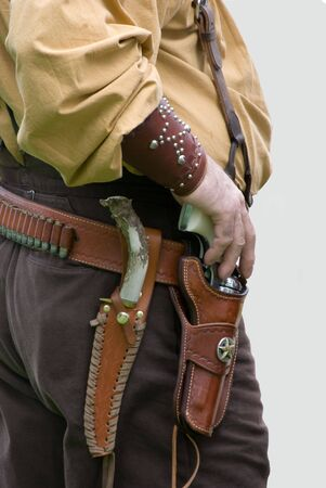 Close up of holster,pistol and knife