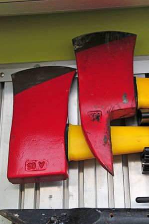 Two red axe blades