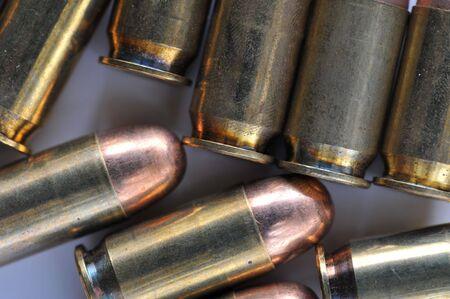 45 ammo: .45 caliber handgum ammunition Stock Photo
