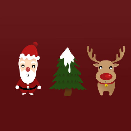 santa with reindeer and a Christmas tree