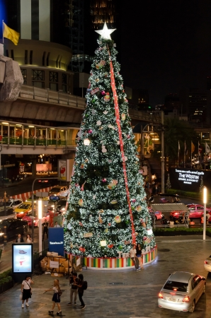 BANGKOK - 30 NOV 2012 - A huge and beautiful lighting Christmas tree at the front of Terminal 21 building.