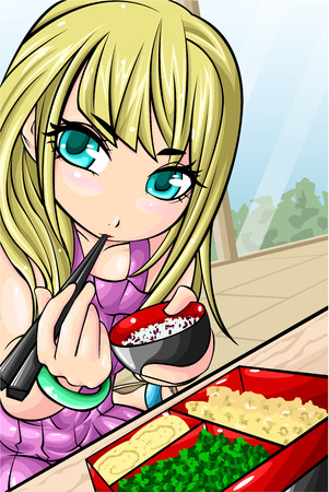 Blonde hair girl eating bento with chopsticks
