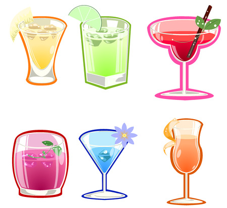 Variety of cocktails illustration on white background Vector