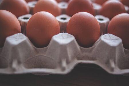 Rustic close-up of an egg carton