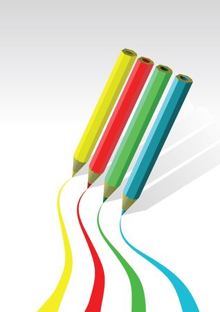 coloured pencils drawing lines on white background Stock Photo - 5512521