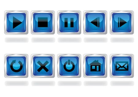 set of glossy multimedia buttons Vector