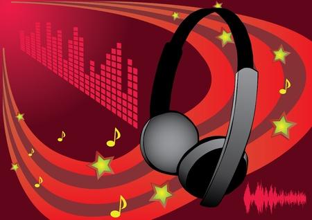 musical headphones design Stock Vector - 9225235
