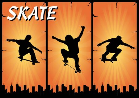 skate banners composition Stock Vector - 9246258