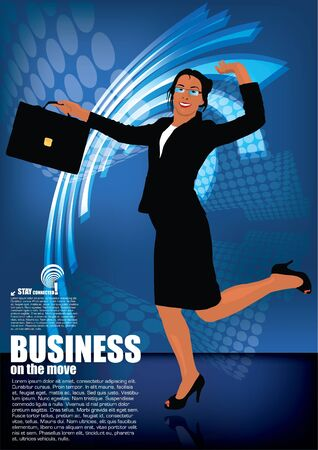 businesswoman on digital background Vector