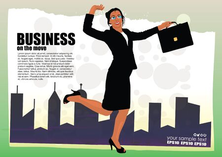 illustration of happy businesswoman Vector