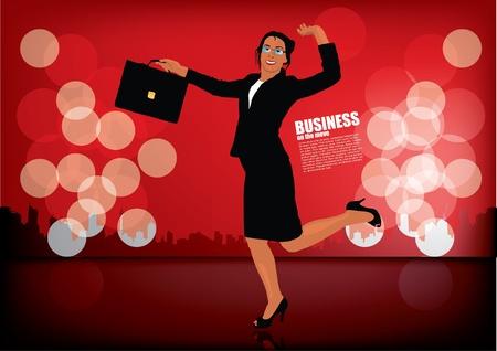 businesswoman on decorative background Vector