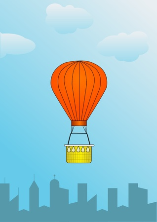 illustration of hot air balloon over the city Vector
