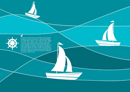 sailing boats abstract vector Illustration