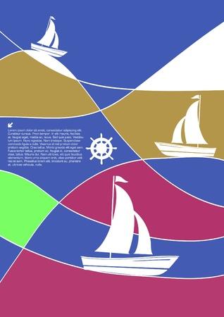 sailing boats abstract vector Illustration