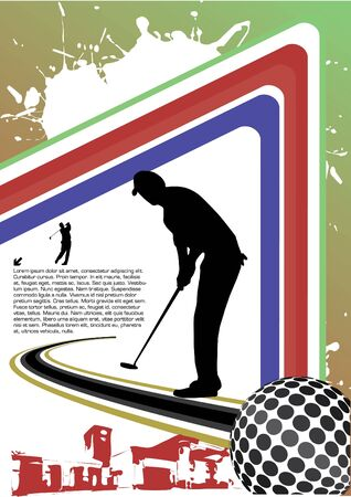 country club: golf player abstract vector Illustration