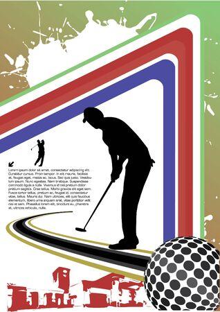 golfing: golf player abstract vector Illustration