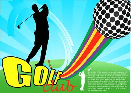 shot put: golf player abstract vector Illustration