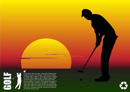 golfer playing at sunset Vector