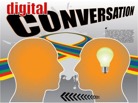 digital conversation abstract vector Stock Vector - 9765575