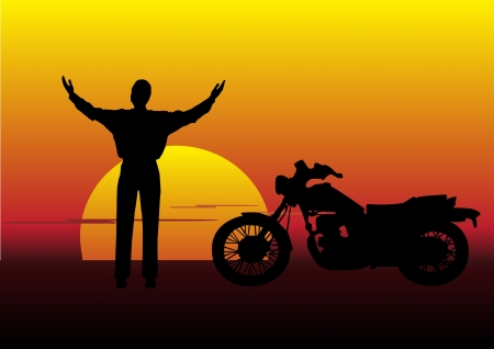 sunset landscape with man and motorbike Stock Vector - 9765557