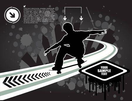 abstract skateboarding Vector