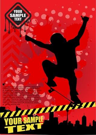 ni�o en patines: skateboarding del grunge del vector