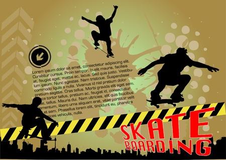skateboarder: grunge skateboarding vector
