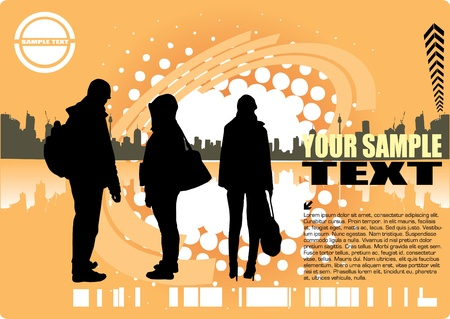 travelers and the city abstract design Vector