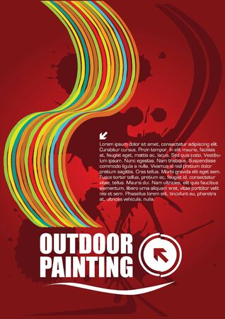 outdoor painting abstract poster vector Vector