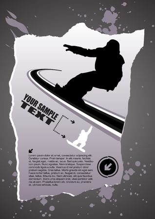 abstract snowboarding  Vector