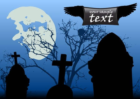 scary night: Cemetery at scary night