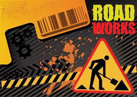 industrial danger: obras de la carretera en construcci�n Vectores