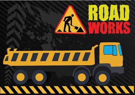 bagger: road works vehicle on boring background Illustration