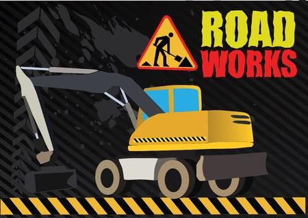 earth moving: veh�culo de obras de carretera en perforaci�n de fondo Vectores