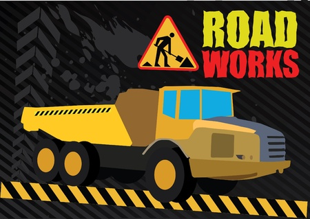 road works vehicle on boring background Stock Vector - 9934417