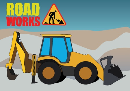 heavy duty: road works vehicle on boring background Illustration