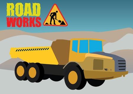 dredge to dig: road works vehicle on boring background Illustration