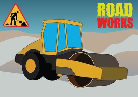 earth moving: veh�culo de obras de la carretera en perforaci�n de fondo Vectores