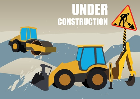road works vehicles on boring background Vector