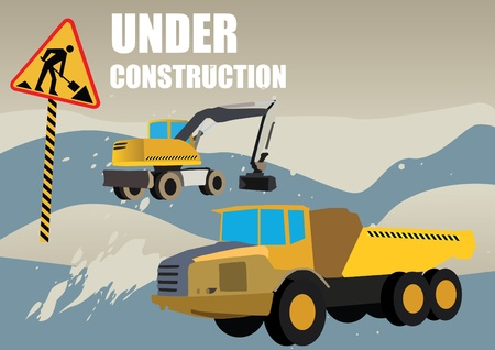 digger: road works vehicles on boring background
