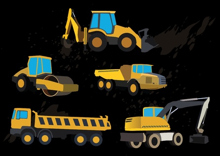 construction dozer: set of road works vehicles Illustration