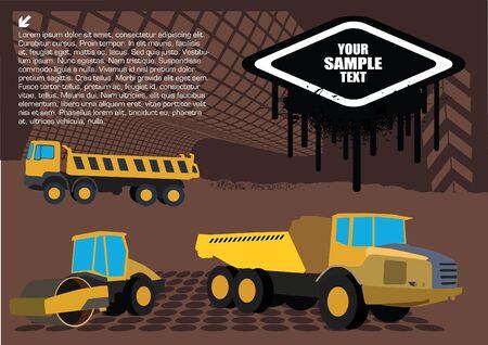 dredge to dig: road works vehicles on grunge background Illustration