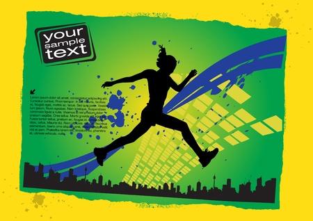 active girl: jumping woman grunge
