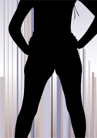 vrouw vorm op abstracte lijnen achtergrond Stock Illustratie