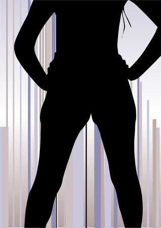 sexes: woman shape on abstract lines background Illustration