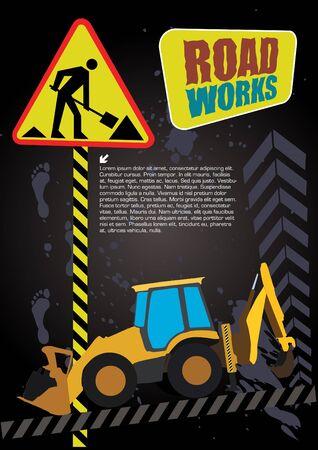 road grader: digger on grunge road works background