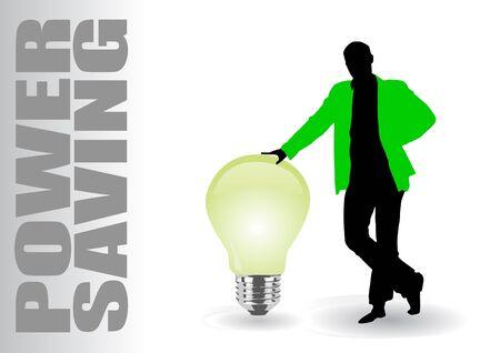 man with power saving idea Stock Vector - 9934578