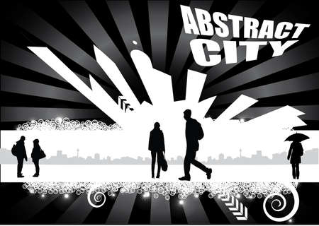 abstract city with people design Vector