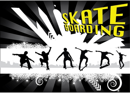 skateboarders on abstract city background Stock Vector - 9934649